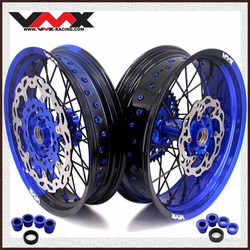 VMX 3.5/5.0 New Two-tone Wheels Set Compatible with KTM Blue Hub  Blue/Black Rim  Black Spoke  Blue/Black Nipple With Disc