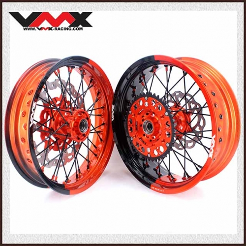 VMX 3.5/5.0 Supermoto Two-tone Wheels Compatible with KTM Orange Hub  Orange/Black  Rim Black Spoke  Orange/Black Nipple With Disc
