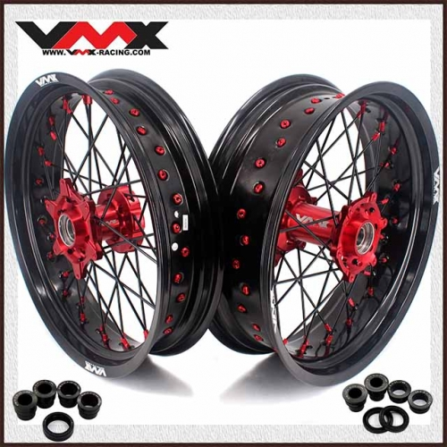 VMX 3.5/5.0 Supermoto Wheels Compatible with KTM EXC SXF XCF 125 250 530 Red Hub/Nipple Black Rim/Spoke 2020