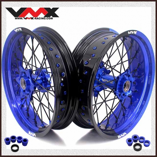 VMX 3.5/5.0 Motorcycle Dirt Bike Two-tone Wheels Set Fit for KTM Blue/Black Rim  Black Spoke