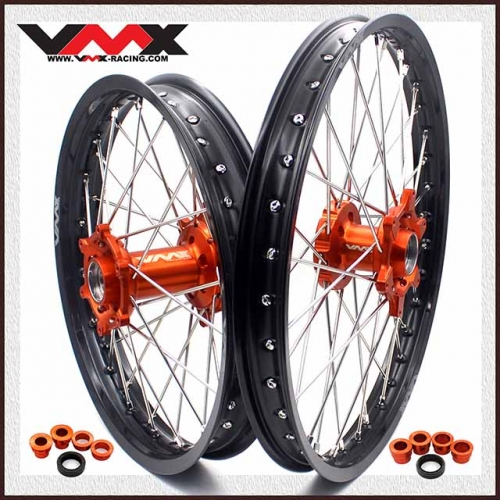 VMX 21/19 MX Wheel Set Compatible with KTM EXC-F SXC 530CC 2003-2020 Orange Hub Black Rim