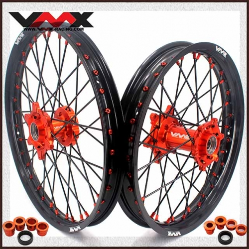 VMX 21/19 MX Wheels Compatible with KTM EXC XCW-F 125cc 2003-2020 Orange Hub/Nipple Black Rim/Spoke