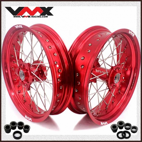 VMX 3.5/5.0 Supermoto Wheels Compatible with KTM EXC SXF XCF 125 250 530 Red hub Red rim