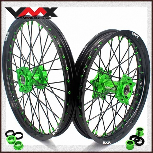 VMX 21/19 MX Wheel Rim Fit KAWASAKI KX250F KX450F 2006-2020 Green Hub/Nipple Black Rim/Spoke