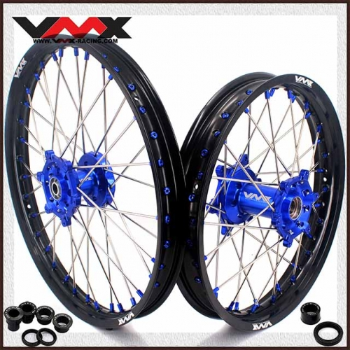 VMX 21/18 Wheels set Fit YAMAHA WR250F WR450F Blue Hub/Nipple Black Rim