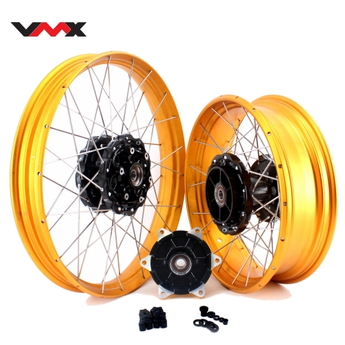 "VMX 2.15*21""/4.25*17"" Tubeless Wheels Rims Fit for BMW F800GS 2008-2021 Black Hub Gold Rim"