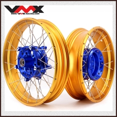 "VMX 3.0*19""/4.25*17""  Tubeless Wheels Set Fit for BMW R1200GS 2013-2021 Blue Hub Gold Rim"