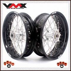 VMX 3.5/4.25 Casting Supermoto Wheels Set Compatible with KTM SX EXC  Silver Hub Black Rim