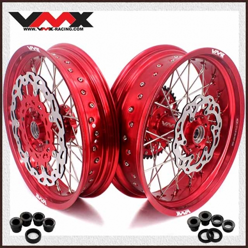 VMX 3.5/5.0 Motorcycle Supermoto Wheels Compatible with KTM EXC SXF 125 250 530 Red hub/ rim With Disc