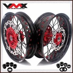 VMX 3.5/5.0 Motorcycle Supermoto Wheels Compatible with KTM EXC 530 Red Hub/Nipple Black Rim/Spoke Disc