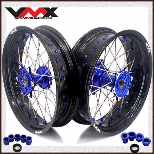 VMX 3.5/5.0 Motorcycle Supermoto Casting Wheels Fit YAMAHA YZ250F YZ450F YZ125 Blue Hub/Nipple