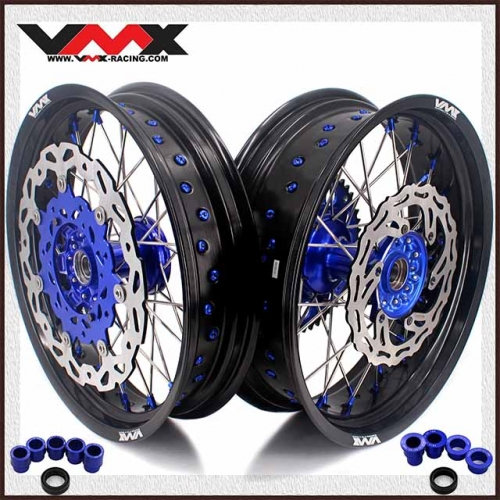 VMX 3.5/5.0 Motorcycle Supermoto Casting Wheels Disc Fit YAMAHA YZ125 YZ250F YZ450F Blue Hub/Nipple