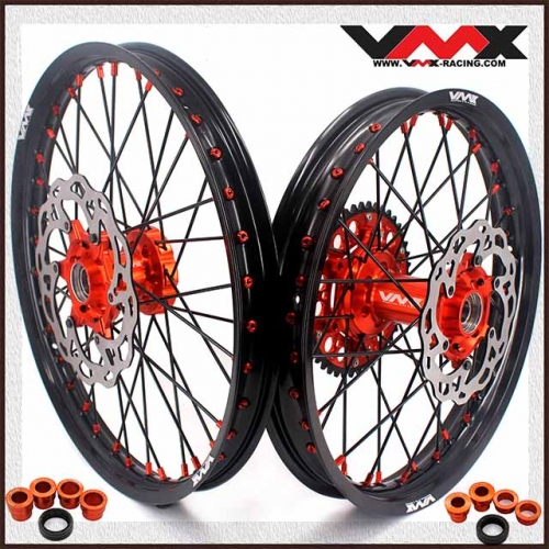VMX 21/19 MX Wheels Disc Fit KTM EXC XCW-F 125 2003 2020 Orange Nipple Black Spoke
