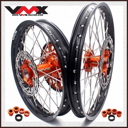 VMX 21/19 MX Wheel Disc Fit KTM EXC-F SXC 125 530 2003-2020 Orange Hub Black Rim
