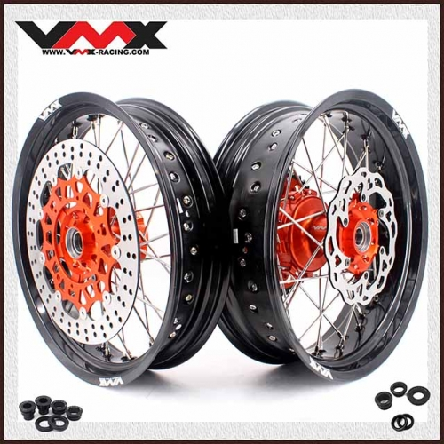 VMX 3.5/4.5 Motorcycle Supermoto Cush Drive Wheels Compatible with KTM EXC XC-F 125 530 Orange Hub