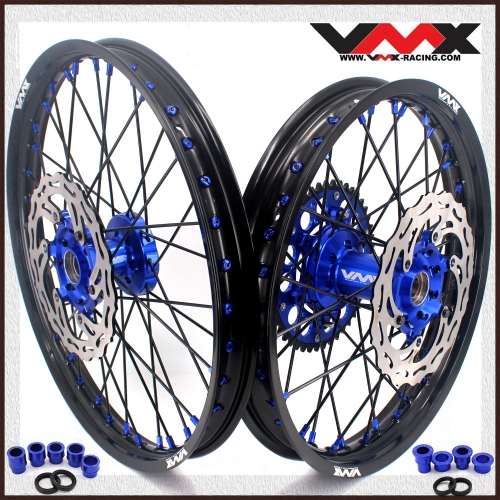 VMX 21/19 MX Wheel Rim Disc Fit YAMAHA YZ125 YZ250F YZ450F 2020 Blue Nipple Black Spoke