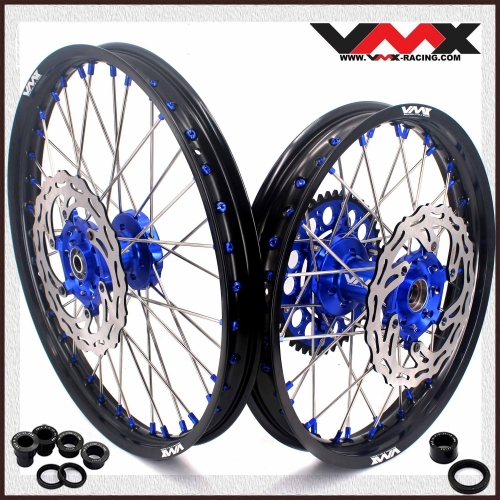 VMX 21/18 Wheels Disc Fit YAMAHA WR250F WR450F 2003-2018 Blue Hub/Nipple Black Rim
