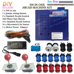 DIY Arcade parts Bundle 750  In 1 Multi Game PCB With Joystick And Push Button Power adaptor And Connect Harness Wire Arcde Kits