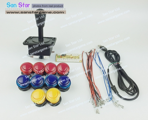 DIY Arcade parts Bundles With USB TO JOYSTICK AC9+Joystick*1+Push button*10