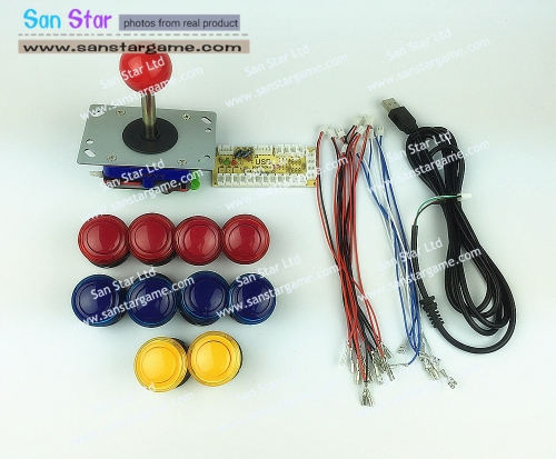 DIY Arcade parts Bundles With Usb to Joystick+Joystick*1+Push button*10