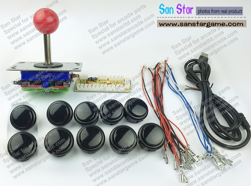DIY Arcade parts Bundles With USB TO JOYSTICK*1 +Joystick*1+Push button*10
