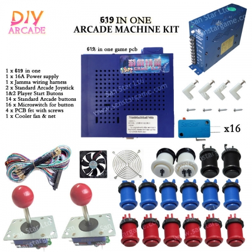 DIY Arcade parts Bundles With 750 in 1+Joystick+Push button+Microswitch+Fans+Power Supply
