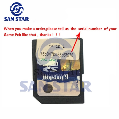 CF Card of Game Elf 750 in 1 SD card serial number should be provided when you order