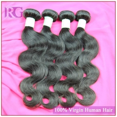Indian Hair Body Wave 4 Bundles/Pack Virgin Indian Human Hair weaves, RG Virgin Hair Free Shipping