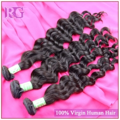 Virgin Indian Hair Natural Wave 3 Bundles/Pack , Virgin Human Hair Bundle Deals RG HAIR Free shipping