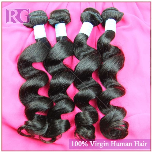 Malaysian Virgin Hair Loose wave 4 Bundles/Pack, Grade 9A Human Hair weaves, RG Hair Free Shipping