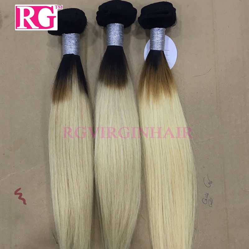 Top Quality  Ombre Blonde Hair 1b/613# 5 Bundles/Pack Brazilian Hair Bundles Free Shipping