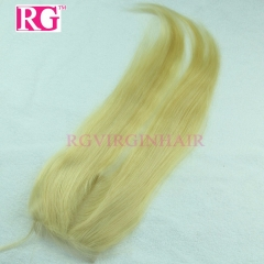 Blonde Closure Straight Hair Bleached knots Brazilian Virgin Hair Closure Color 613