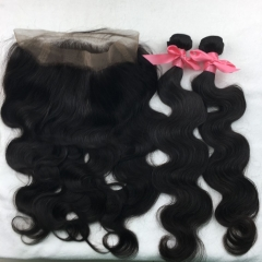 2 Bundles with 360 Frontal Closure Brazilian Virgin Hair Body Wave Free Shipping