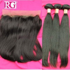 360 Frontal wtih 3 Bundles Brazilian Straight Hair Virgin Hair Free Shipping