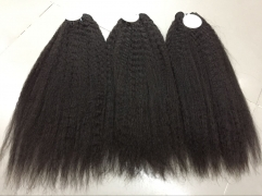 Kinky Straight Bundles with Lace Closure 4 PCS/Pack Virgin Human Hair