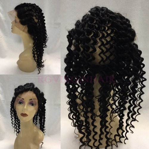 360 Round Frontal Closure Deep Wave Virgin Hair Closure
