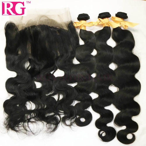 360 Closure Frontal With 3 Bundles Virgin Hair Weaves Body Wave