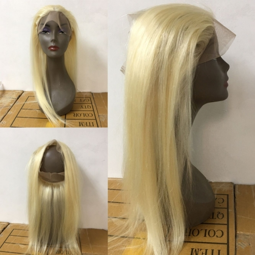 #613 360 Frontal Straight Hair Blonde Frontal Closure Bleached Knot