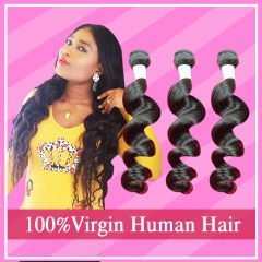 Indian Virgin Hair Loose Wave 3 Bundles/Pack Virgin Indian Human Hair Bundle Deals RG HAIR Free shipping
