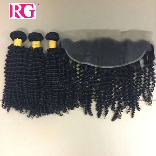 Brazilian Virgin Hair 3 Bundles with Lace Frontal Kinky curly