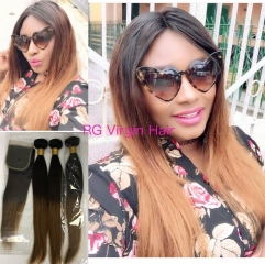 Ombre Hair 3 tone 1b/4/30 Brazilian straight Hair 3 Bundles with Lace Closure Free Shipping