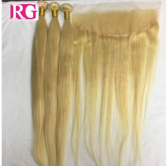 613 Blonde Hair 3 Bundles with Lace Frontal Straight Blonde Human Hair Worldwide shipping