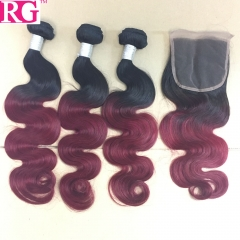Ombre Hair 1b/Burgundy Body wave 3 Bundles with Lace Closure 100% Human Hair Free Shipping