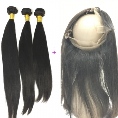 Straight Virgin Human Hair 3 Bundles with 360 Closure Frontal Best Deal Worldwide Shipping