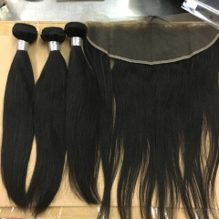 8A Virgin Hair 3 Bundles with Lace Frontal Complete for a full heal Full Hair