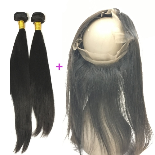 Straight Virgin Hair Products 2 Bundles with 360 Frontal 100% Human Hair