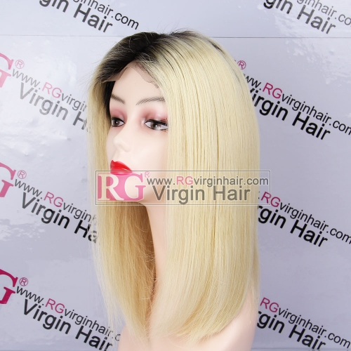 Ombre Blonde  Bob Wig 100% Human Hair Wig Lace Closure Wig