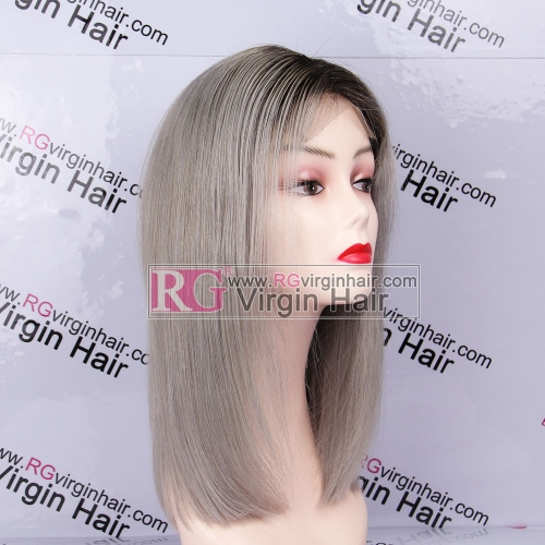 Ombre Gray Color Bob Wig 100% Human Hair Wig Lace Closure Wig