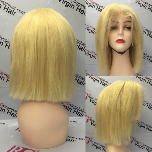 10inch Blonde Wig Lace Frontal Wig Human Hair Wig 270grams/Piece 250% Density