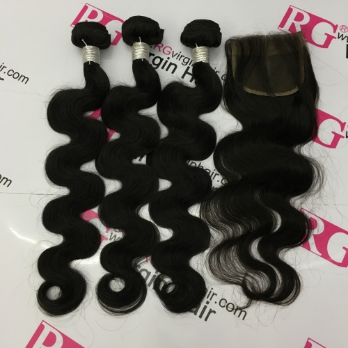 Peruvian Body Wave Human Hair 3 Bundles with Lace Closure